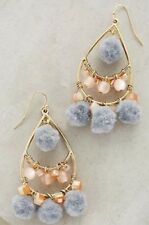 NEW Anthropologie Pommed Drops Chandelier Earrings Pink/Gray/Gold Capwell + Co