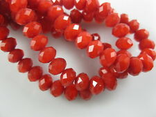 200Ps Opaque Red Crystal Glass Faceted Rondelle Bead 4mm Spacer Jewelry Findings