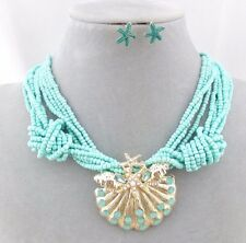 Sea Green Bead With Gold Shell Pendant Necklace Earrings Set Fashion Jewelry NEW