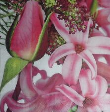 4 X single PAPER NAPKINS DECOUPAGE CRAFT TABLE PARTY LILIES FLOWERS  40