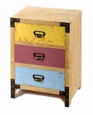Wooden 3 Bedside Drawer Distressed Cabinet Multi Colour Funky Unique Lamp Table