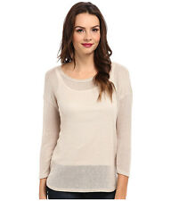 NWT $98 SOFT JOIE Nash Lightweight Mesh Sweater Almond Porcelain Top XS X-SMALL