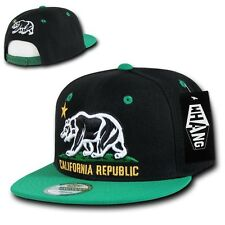Black Kelly Green California Republic Bear Flat Bill Snapback Snap Back Cap Hat