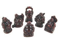 SET OF SIX MEDIUM (2 inch) LUCKY BUDDHA ORNAMENTS IN BURGUNDY RED BUDDHAS IN BOX