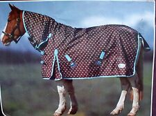 Full Neck Dottie Torrent RHINEGOLD Brown Blue Spot Outdoor Liteweight Rug 5' 6""