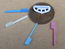 1:12 Scale Rack Of 4 Coloured Tooth Brushes Dolls House Bathroom Teeth Accessory