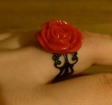 BEAUTIFUL RED ROSE RING burlesque rockabilly retrò REGOLABILE