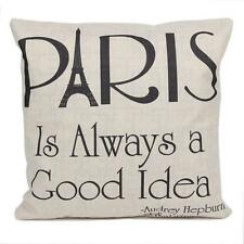Paris is Always a Good Idea Quote Pillow Case Cotton Linen Home Decorative Gift