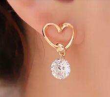 Gold Heart Drop Stone Earrings Ear Stud