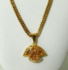 Yellow Gold Plated Necklace Religious Pendant Womens Girls 9k Link Chain