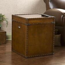 Upton Home Steamer Walnut Finish Trunk End Table Modern Furniture Sofa Tables