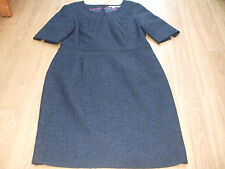 BODEN STUNNING PLEAT NECK  NAVY LACE SHIFT  DRESS SIZE 18 REG BNWOT