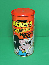 Mickey's Musical Money Box Vintage 70's tin toy Combex Green Monk England Disney