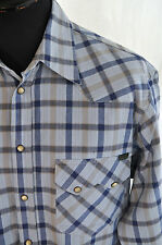 BSCO blue flannel check western country shirt in size small western rockabilly
