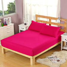 100% Cotton Flat Fitted Sheet Bed Coverlet Set Comfort Solid Color Bed Cover