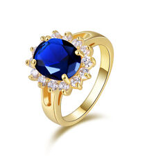Size 9 Halo 18K Gold Filled Luxury Blue Sapphire For Womens Fashion Wedding Ring