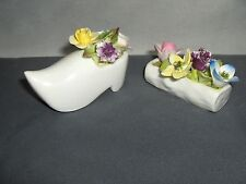 2 Vintage Coalport Bone China Porcelain Mini Flower Figurines Dutch Shoe &  Log