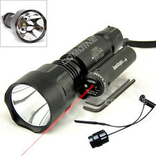 Hunting Tactical Red Laser DOT Sight & CREE XM-L T6 LED Flashlight Torch 1 Mode