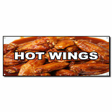 Hot Wings Food And Drink Vinyl Banner Sign W/ Grommets 2 ft x 4 ft