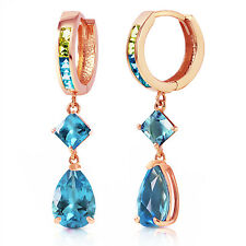 5.37 CTW 14K Solid Rose Gold Huggie Earrings Peridot Blue Topaz