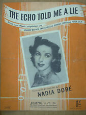 VINTAGE SHEET MUSIC - THE ECHO TOLD ME A LIE - NADIA DORE