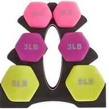 WOMENS Arm DUMBBELL SET 6 Hand Weights w Stand  2, 3, 5 Pounds Strength Training