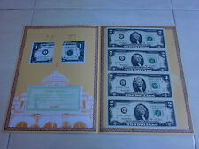 USA UNCUT 4x TWO DOLLAR US$2 banknote with double folder &certificate (UNC) #2