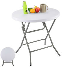 "32"" Plastic Folding Table Round Furniture Home Outdoor Camping Party Portable"