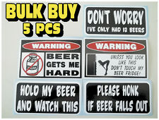 FUNNY WARNING MAN CAVE BEER FRIDGE LAGER DRAFT CAN KEG COOLER STICKERS DECAL X5
