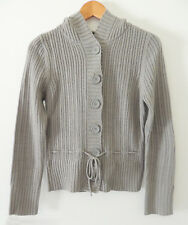 GREY CARDIGAN WITH FEATURE TIE & HOOD. SIZE SMALL.