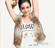 Women's Faux Fake Fur Waistcoat Gilet Vest Jacket Bolero, Beige, Small, UK 8-10