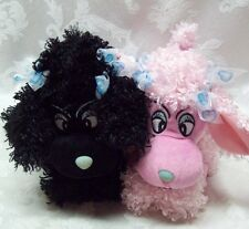 Toy Factory Paris French Poodles Curly Black & Pink Poodle Blue Eyes Laying Down