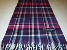 100% Cashmere Scarf Soft 72X12 Purple Blue Pink Scotland Wool Check Plaid K39