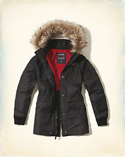 New Hollister By Abercrombie & Fitch Womens All-Weather Parka Black Size M
