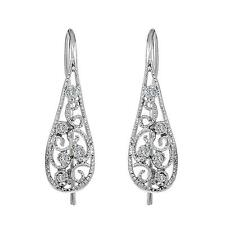 Sterling silver earrings round brilliant cut micro pave set filigree style 925