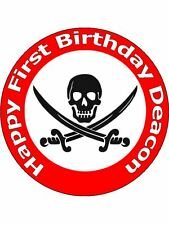 "7.5"" PIRATE SCULL BIRTHDAY PARTY CAKE TOPPER PERSONALISED ON EDIBLE RICE PAPER"