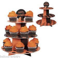 3-Tier Happy Halloween Black Orange Polka Dots Card Cake Cupcake Stand
