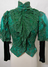 Victorian Green Silk Velvet Tape Lace Ruffle Leg O Mutton LS Jacket 32