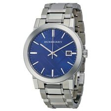 Burberry Men's BU9031 Embossed Blue Dial 38mm Stainless Steel Swiss Quartz Watch