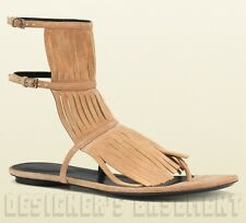 GUCCI beige 38.5 Suede Fringe BECKY buckled straps GLADIATOR sandals NIB Authent