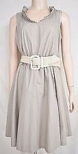 """""""The Limited"""" taupe dress full skirt 100% organic cotton SIZE 10 PETITE"""