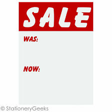 "96 SALE WAS NOW Cards 3x2"" Price Tickets Label Discount Shop Pricing Sign Tag UK"