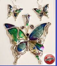 "Big Enamel Rainbow Butterfly Wing Sun Pendant Earrings Necklace + 23"" Long Chain"