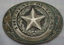 Nice Vintage TONY LAMA State of TEXAS Star Solid Aged Brass Belt Buckle RARE
