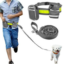 Reflective Hands Free Dog Leads Bungee Running Leash with Treat Bag for Training