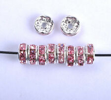 30pcs Pink Czech Crystal Rhinestone Silver Rondelle Spacer Beads 7MM