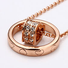 NEW 18K Rose gold high-end dual-ring fashion Necklaces Pendant charm jewelry K29