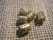 10 Gold Plated Antique Effect European Charm Bead Tube Punched 9x8mm 5.5mm Hole