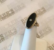 Antique Nouveau 14k Oval Black Onyx & Old European Cut Diamond Ring size 5.25
