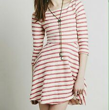 "Free People Anthropologie ""All I Want Is You"" Striped Knit Cut Out  Dress Small"